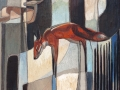 fox in the wood 46x55cm rachel lockwood